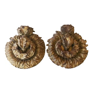 1790s Vintage Architectural Gilded Wood Medallions - a Pair For Sale