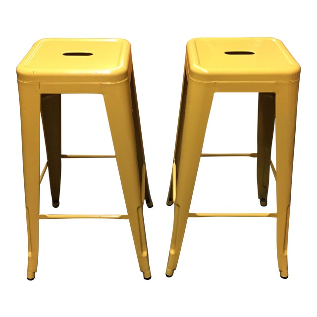 Yellow Painted Metal Bar Stools - A Pair - Image 1 of 7