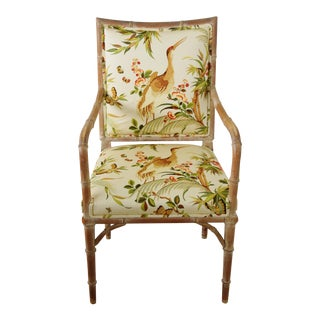 Hollywood Glam 1960s Chinoiserie Bamboo-Style Accent Armchair For Sale