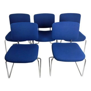 Mid-Century Blue Chrome Chairs - Set of 5 For Sale