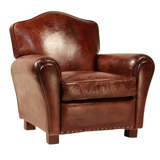 Brown Aged Leather Club Chair