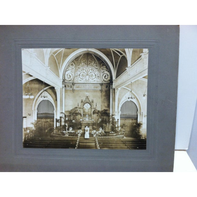 "This is an antique Mounted Black and White Photograph that is titled ""Church Alter"". The Photographer is Unknown. The..."