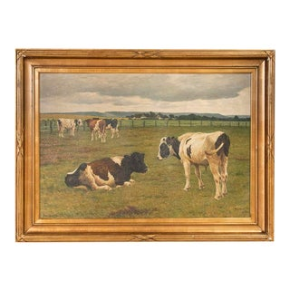 Vintage Original Oil on Canvas Painting of Grazing Cattle Signed by Poul Steffenson For Sale