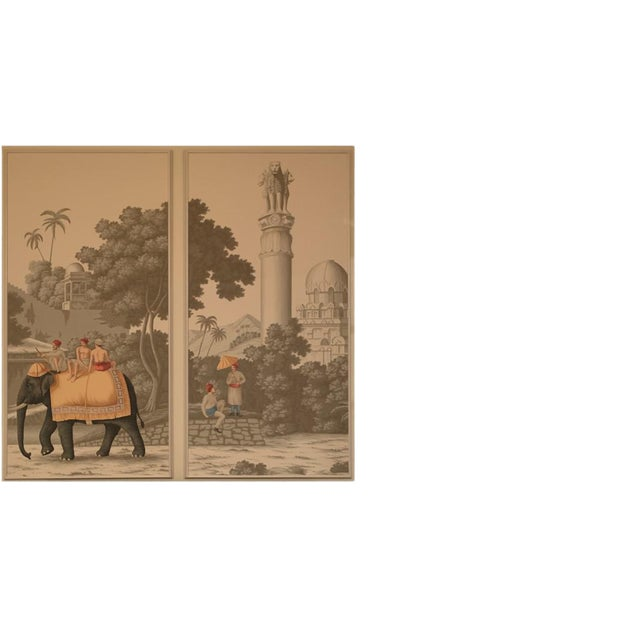 DeGournay Early Views of India Framed Panels - A Pair For Sale - Image 4 of 6