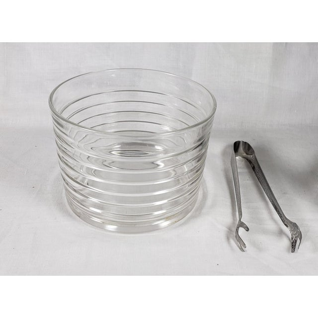 Mid 20th Century Art Deco Chrome Ice Bucket With Ribbed Glass Insert and Tongs For Sale - Image 5 of 9