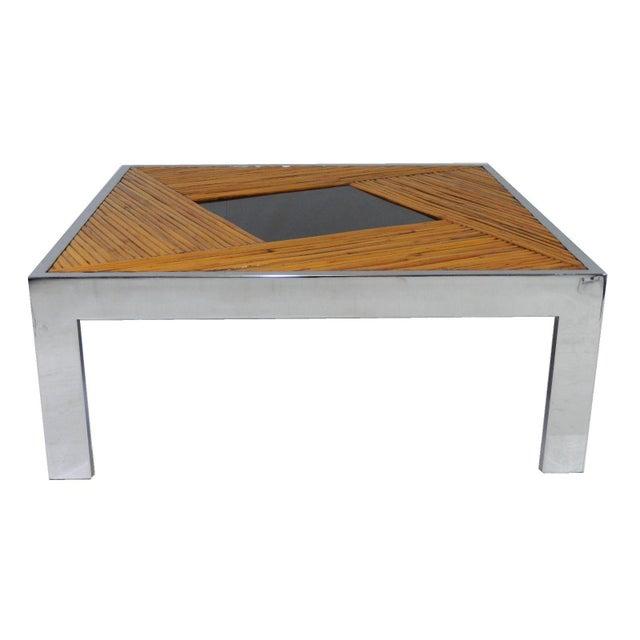 Milo Baughman Chrome Coffee Table: Mid-Century Milo Baughman Bamboo & Chrome Coffee Table