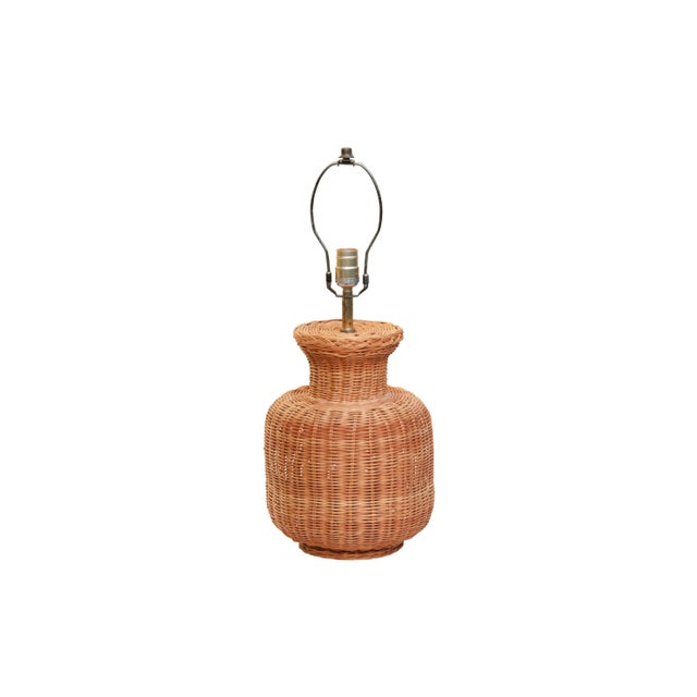 Vintage Wicker Table Lamp For Sale In New York - Image 6 of 6