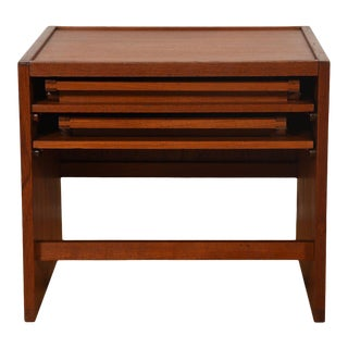 Danish Teak Accent Table W/ 2 Folding Tray Tables For Sale