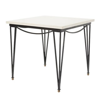 Mid-Century Modern Square Iron Table With Travertine Top For Sale