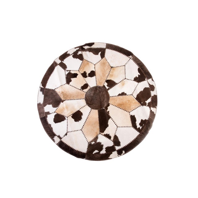 """Cowhide Patchwork Round Area Rug - 6'6""""x6'6"""" - Image 1 of 6"""