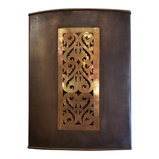 Rectangular Moroccan Copper Wall Sconce For Sale
