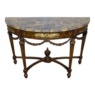 Italian Maitland Smith Tessellated Marble Top Chartwell Console Table For Sale