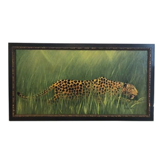 Vintage Mid-Century Leopard Painting For Sale