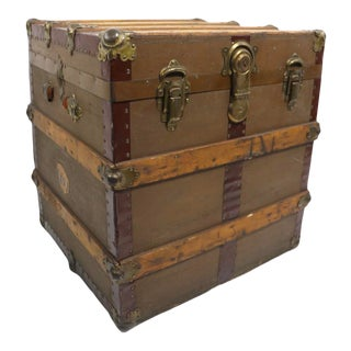 Antique Half Trunk by El Paso Trunk Factory For Sale