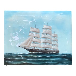 Vintage Seascape Clipper Ship Original Painting Signed For Sale