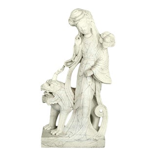 Chinese Guan Yin Carved Marble Figure For Sale