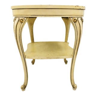 Vintage Hollywood Regency Serpentine Side Table For Sale