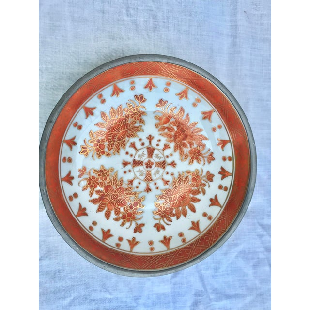 Gorgeous vintage Japanese metal and ceramic bowl. Placed on a stand this becomes a statement piece, or used alone it can...