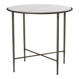 Hayes White Marble Top Side Table in Dark Antique Brass For Sale