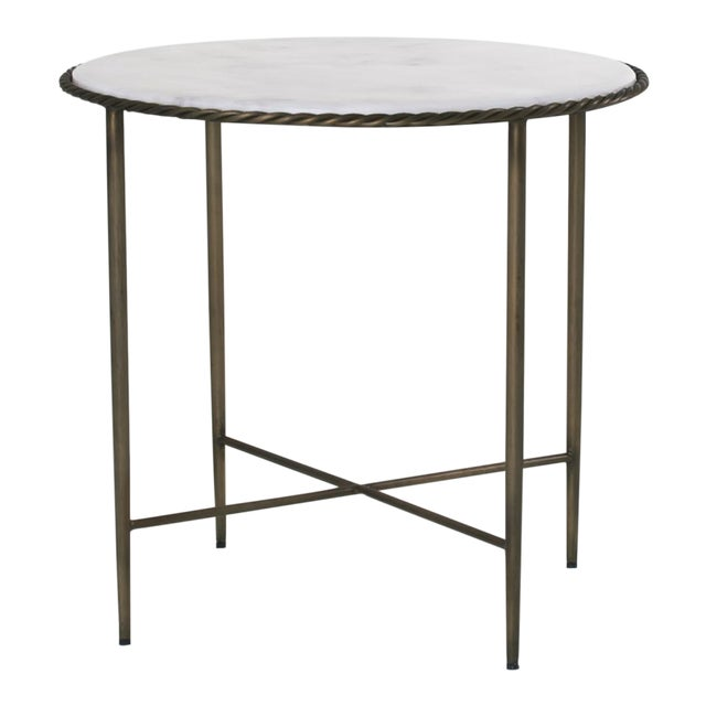Hayes White Marble Top Side Table In Dark Antique Brass