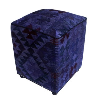 Arshs Demetria Purple/Drk. Gray Kilim Upholstered Handmade Ottoman For Sale