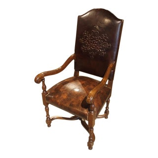 Embossed Leather Walnut Wood Arm Chair From France For Sale