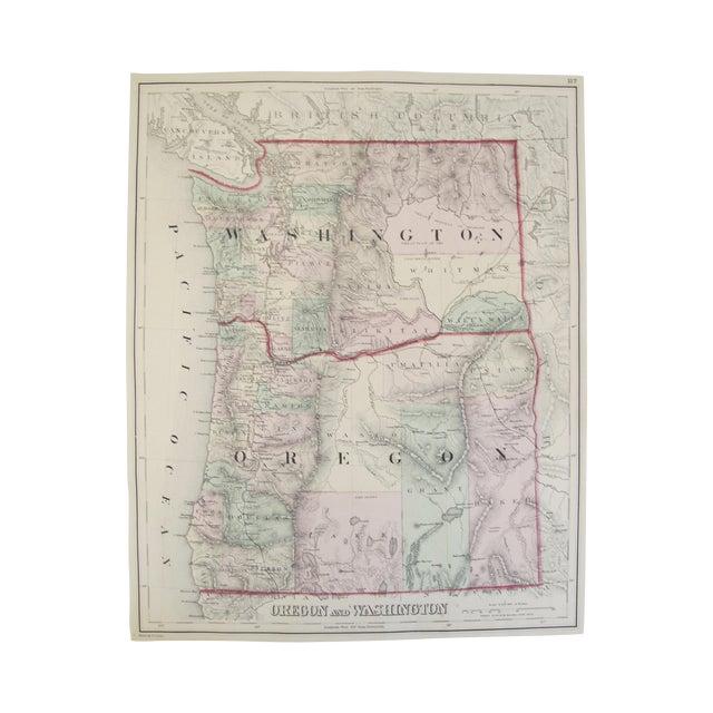 Map of Oregon And Washington Print - Image 1 of 3