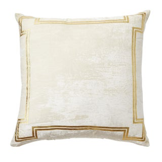 Aria Ivory Silk Velvet Pillow With Gold Foil Accents For Sale