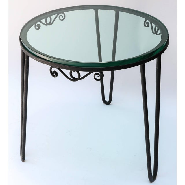 1960s Italian Round Metal Side Table With Glass Top For Sale - Image 4 of 7