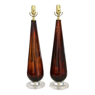 "1960s Murano ""Root Beer"" Teardrop Glass Table Lamps - a Pair For Sale"