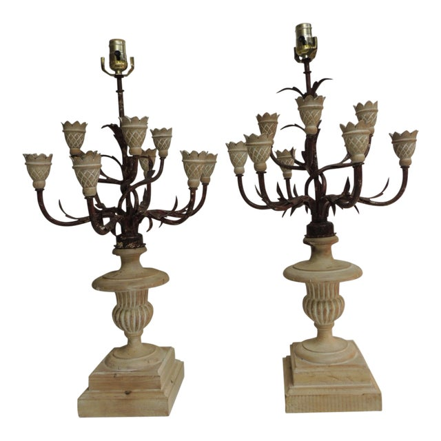Pair of Vintage Wood and Iron Italian Urn Large Table Lamps For Sale