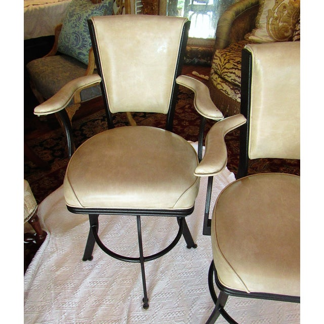 2000 - 2009 Industrial Style Iron and Pleather Swivel Bar Stools - a Pair For Sale - Image 5 of 8