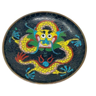 Vintage 1970's Round Yellow Dancing Chinoiserie Dragon Metal Cloisonné Dish For Sale