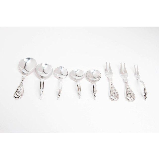 Art Nouveau Early 20th Century Danish Sterling Spoons and Forks by Georg Jensen Silversmith For Sale - Image 3 of 12