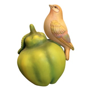1970s Vintage Bird on Fruit Sergio Bustamante Sculpture For Sale