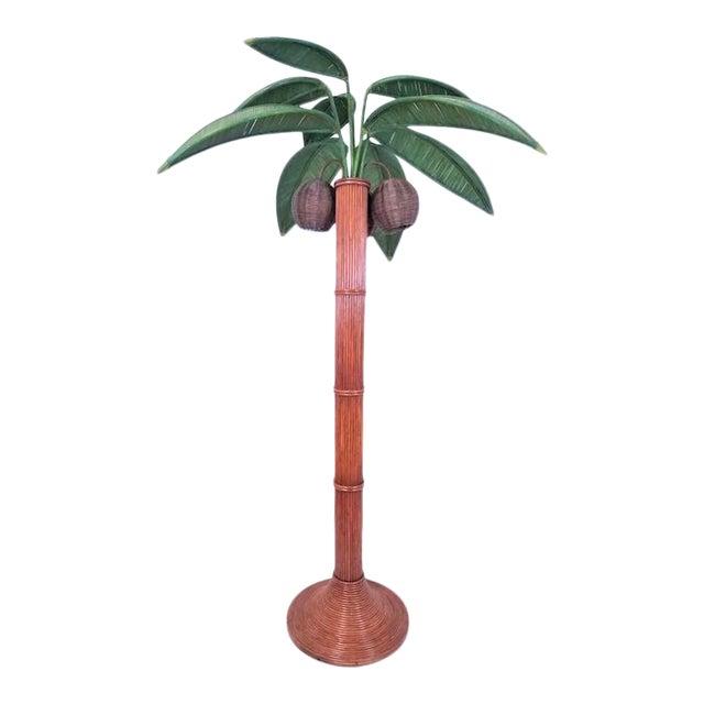 Vintage Mario Lopez Torres Rattan Wicker Palm Tree Lamp  For Sale