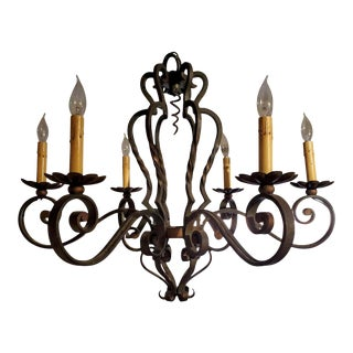 Small 19th Century French Provincial Patinated Wrought Iron Chandelier For Sale
