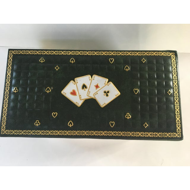 Cool mid-century quilted dark green game/card box made in Italy. Box has picture of a hand of four Aces in each suit on...