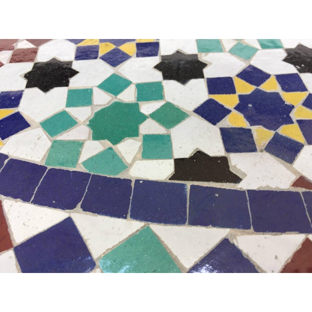 Ceramic Moroccan Round Mosaic Tile Outdoor Table in Moorish Fez Design For Sale - Image 7 of 10