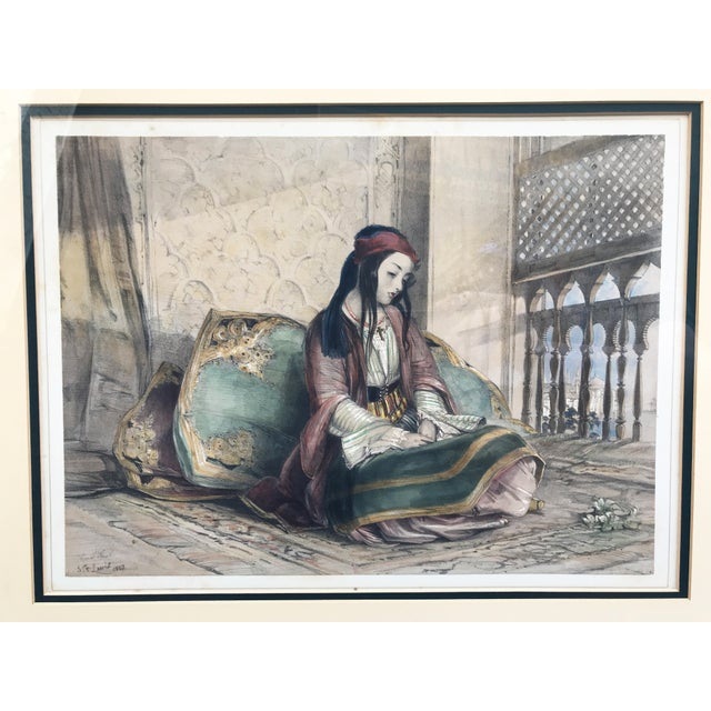 "Superb Orientalist old Print of a Seating Female Framed 27.75"" W by 23.75"" H"