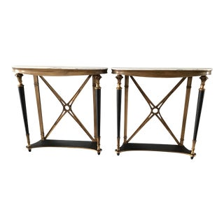Palladio Marble Top Console Tables - a Pair For Sale
