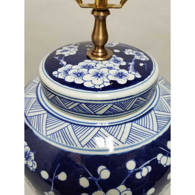 Chinese Blue & White Hawthorne Blue Porcelain Table Lamps - a Pair For Sale - Image 4 of 8
