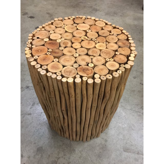 Asian Style Boho Chic Style Natural Wood Stick Low Stool For Sale - Image 4 of 4