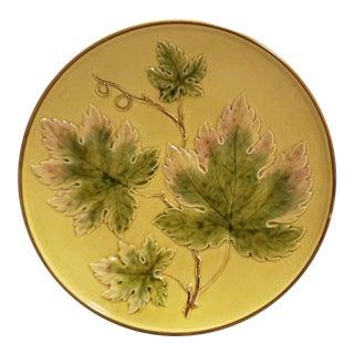 Circa 1900 English Majolica Porcelain Raised Oak Leaves Motif Plate For Sale