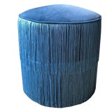 Image of Blue Velvet Round Ottoman Stool Bench Seating With Blue Chainette Fringe Trim Art Deco Hollywood Regency For Sale