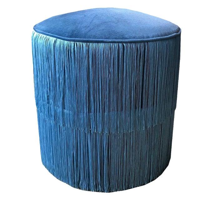 Blue Velvet Round Ottoman Stool Bench Seating With Blue Chainette Fringe Trim Art Deco Hollywood Regency For Sale