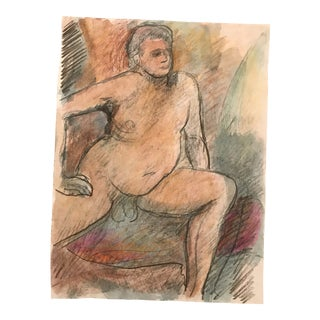 1990s Seated Portly Male Nude Oil Pastel For Sale