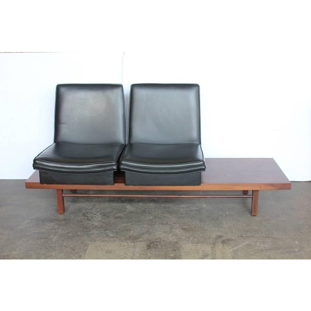 Mid-Century bench with removable seats by Milo Baughman for Thayer Coggin. Original upholstery.