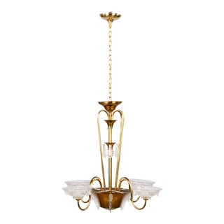 "1930s Vintage Ezan French Art Deco ""Icicle"" Glass Chandelier For Sale"