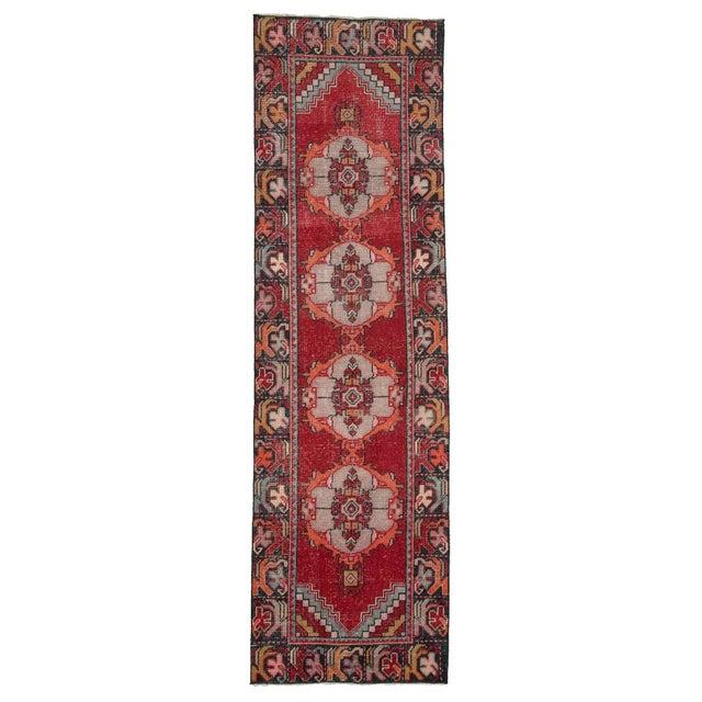Textile Vintage Red Turkish Runner-2′10″ × 9′5″ For Sale - Image 7 of 7